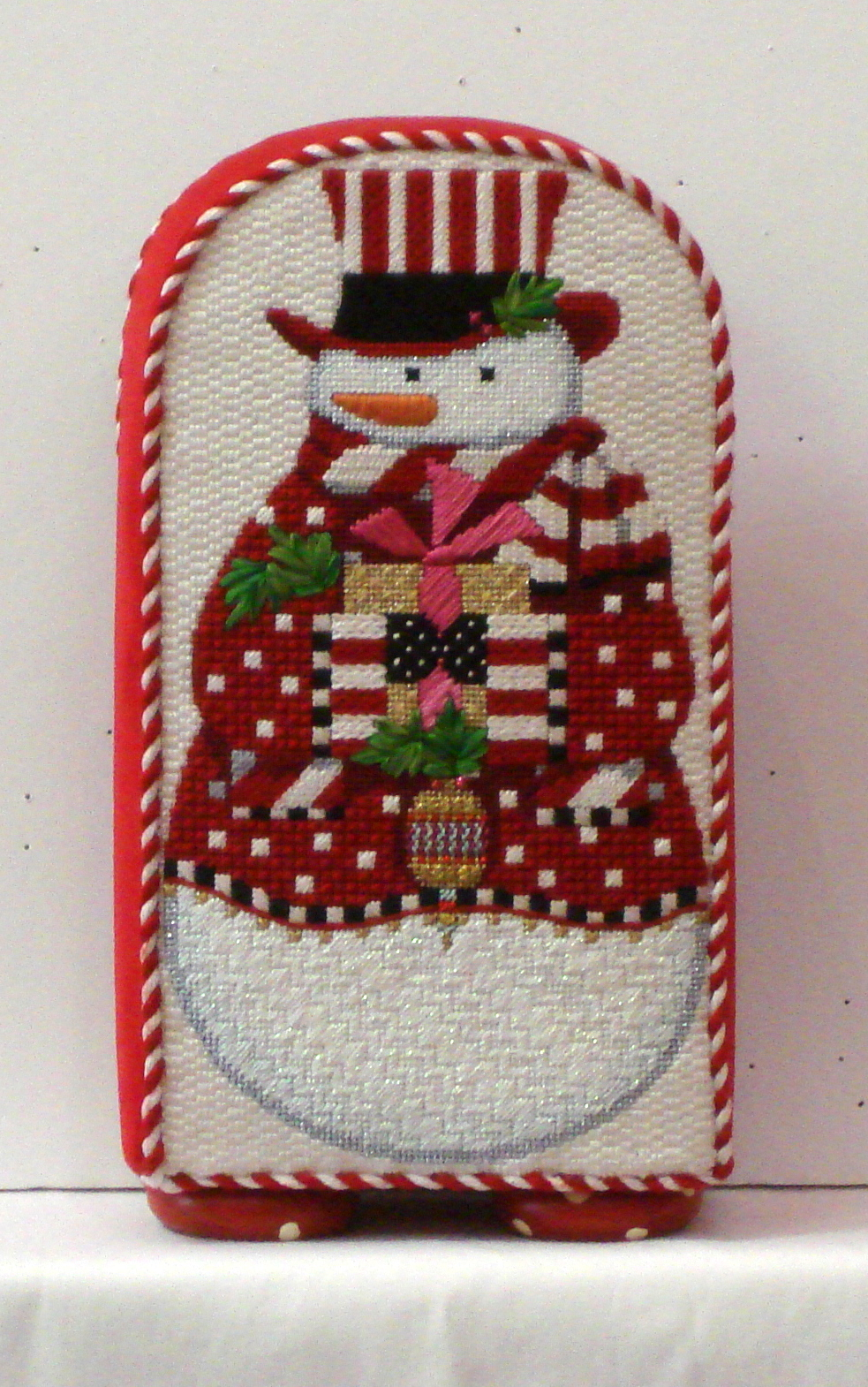 Cheerful Snowman with Red Coat